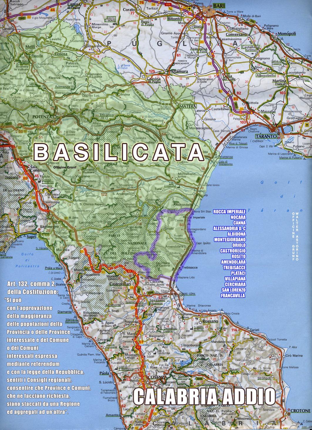 Cartina Calabria E Basilicata.Carta Muta Della Basilicata